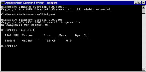 Команда diskpart: list disk
