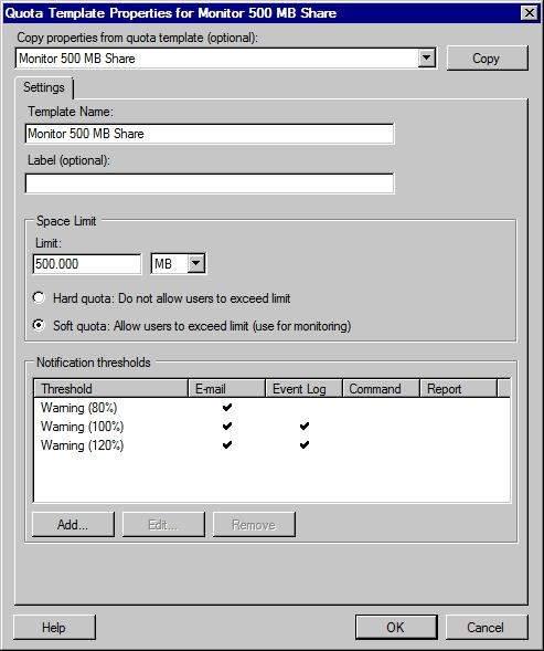 Шаблон квоты Windows Server