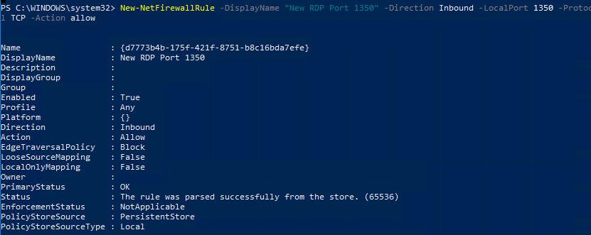 New-NetFirewallRule правило для RDP подключения на новый порт