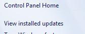 Просмотр установленных обновлений Windows 7