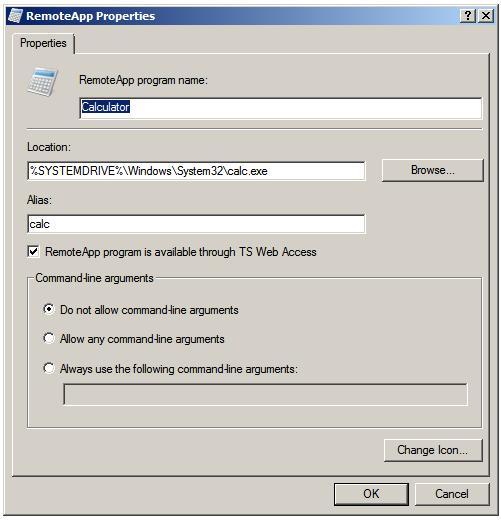 Окно настройки параметров RemoteApp