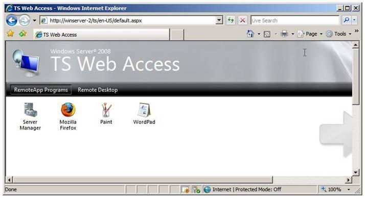Страница доступа TS Web Access