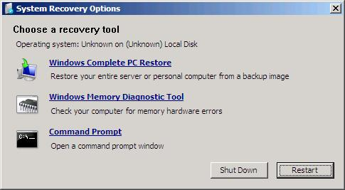 System Recovery Windows Server 2008