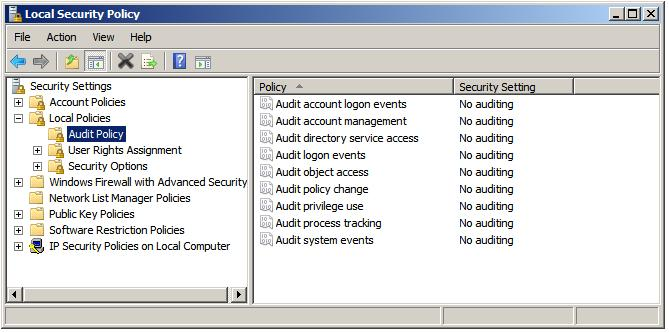 windows server 2008 r2 configuring local audit policy