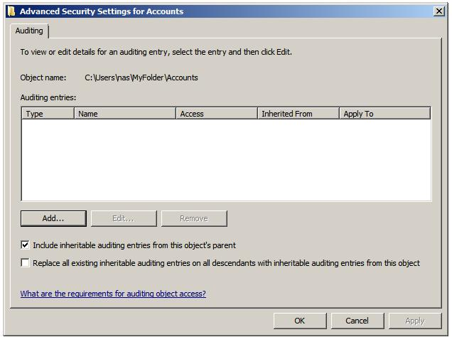 the file and folder auditing entries dialog