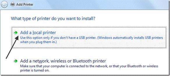 local printer win 7