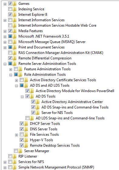 Активация оснастки Active Directory в Windows 7