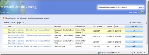 Драйвера в каталоге Windows Update Catalogue