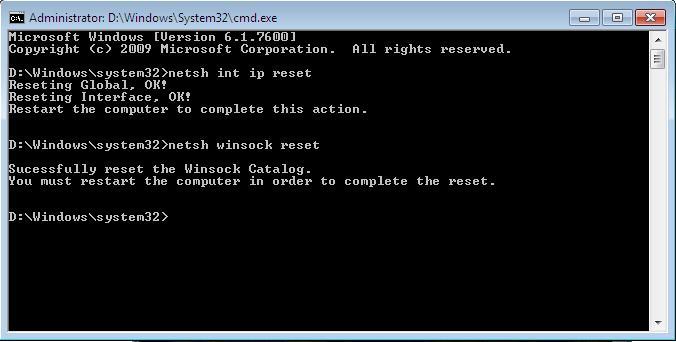 Сброс настроек  TCP/IP в Windows 7