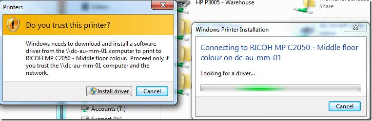 Windows 7: Do you trust this printer