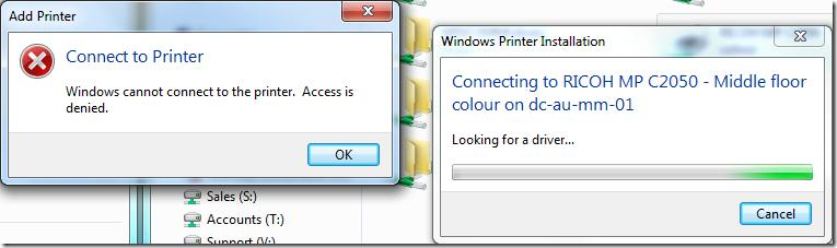 Win 7: Windows cannot connect to the printer. Access is denied