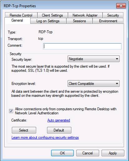 Настрока безопасности Remote Desktop Services Windows Server 2008 R2