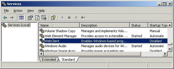 WebClient - клиент доступа по WebDAV в Windows XP