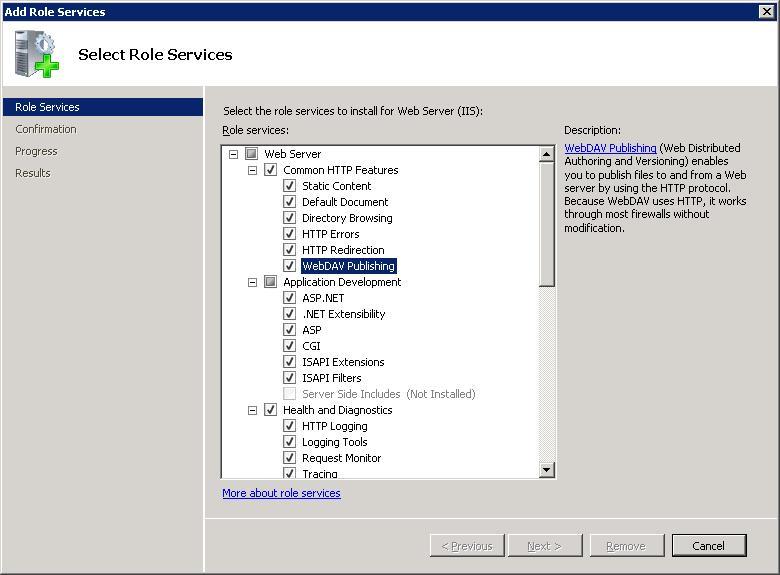 Установка WebDAV на IIS 7.5 в Windows Server 2008 R2