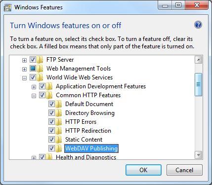 Установка WebDAV на IIS 7.5 в Windows 7