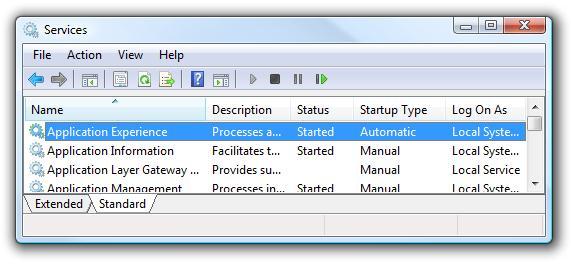 Список служб в windows 7