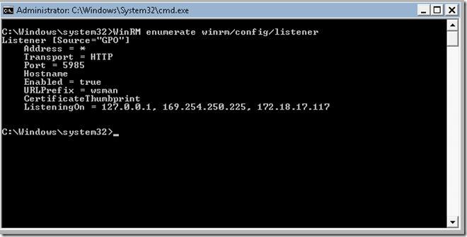 WinRM enumerate winrm/config/listener