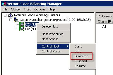 Exchange 2010 CAS - NLB Drainstop