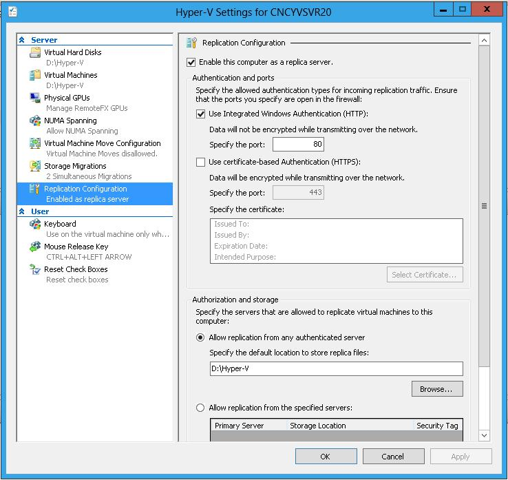 hyper-v Replication Configuration