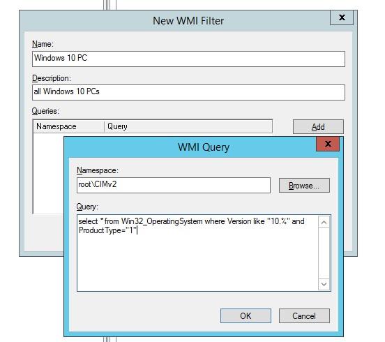 код запроса wmi фильтра GPO для windows 10