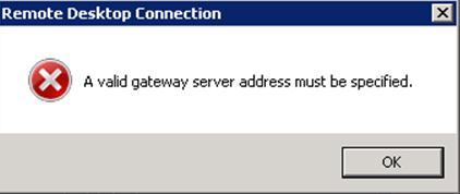 A valid gateway server address must be specified