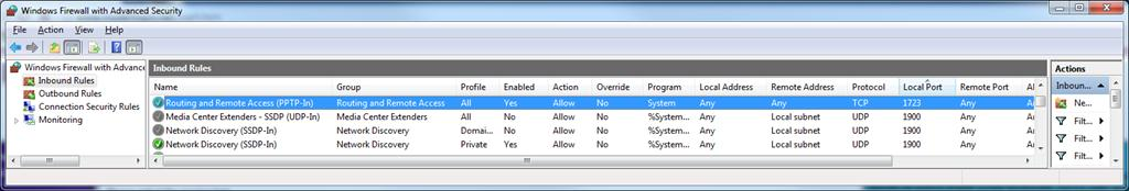 настройка брандмауэра Windows 7 на прием входящих VPN сессий