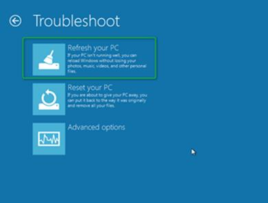 windows 8 PC Refresh recovery