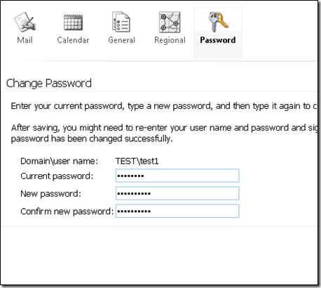 Изменит  пароль пользователя в OWA
