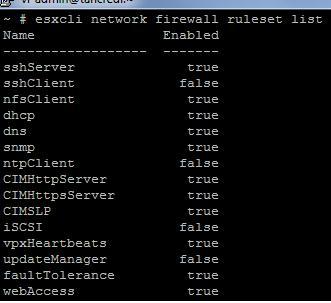 Правила esxi 5 firewall