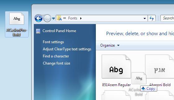 установка шрифтов в Windows 7 перетаскиванием