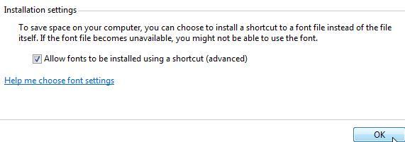 устанавливаем ярлык шрифта в Windows 7