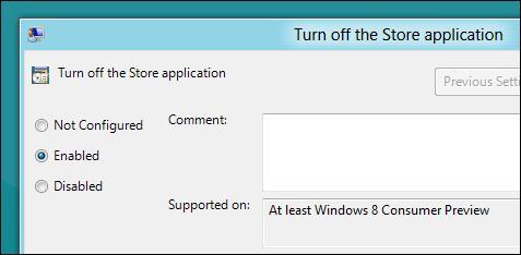 отключить windows Store в win 8