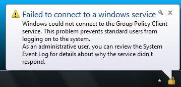 Failed to connect to a Windows service. Windows could not connect to the Group Policy Client Service