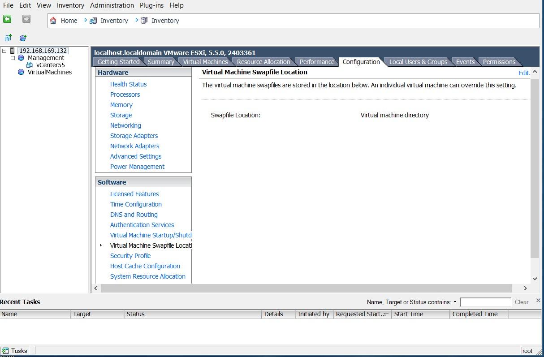 esxi5 настройки местоположения файлов подкачки