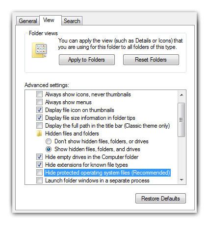 windows 8 показать скрытые файлы