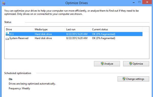 Интерфейс утилиты Optimize Drives  в Windows 8