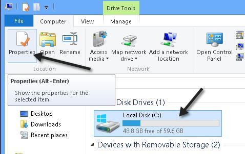 Запуск проверки диска в windows 8