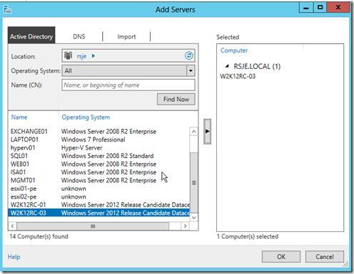 Добавить сервер в консоли Server Manager в win2012