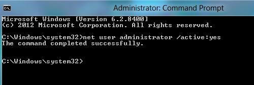 Включить встроенного администратора win8 из командной строки