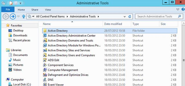 Administrative Tools windows 2012