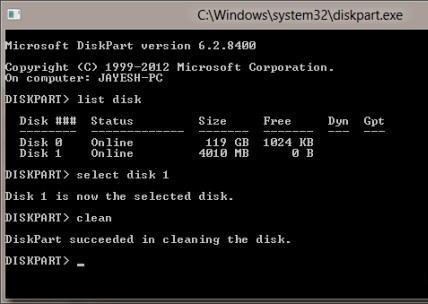 Делаем загрузочную флешку win8 с помощью diskpart