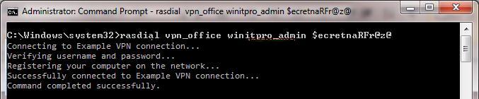 Используем rasdial  для установки vpn соединения в windows
