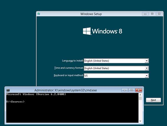 Открыть командную строку во время установки windows 8 shift+f10