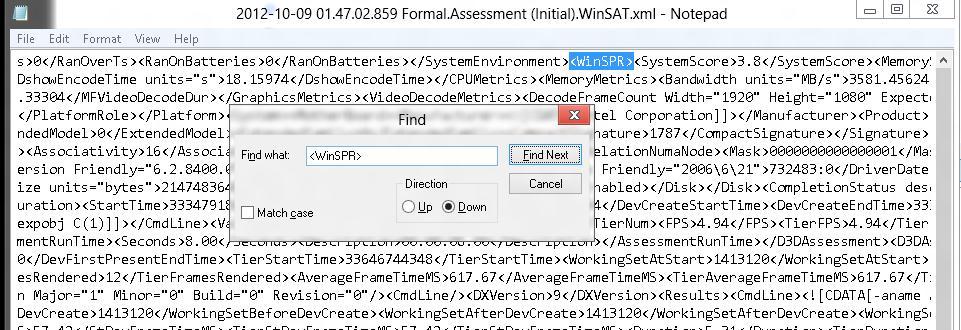 Раздел в xml файле WinSPR