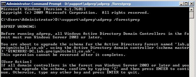 Версия схемы Active Directory в Windows Server 2012 - 56.  Далее обновим схему домена. adprep.