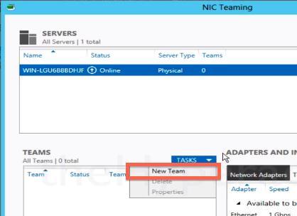 Создаем новую nic team в windows 2012