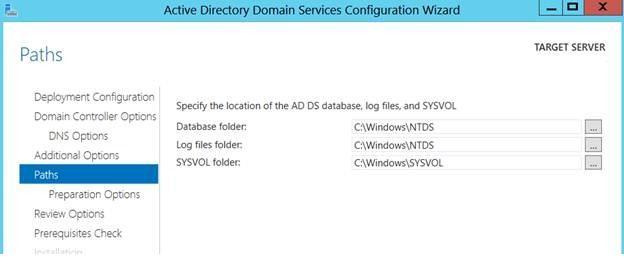 Путь к ntds и sysvol в windows 2012