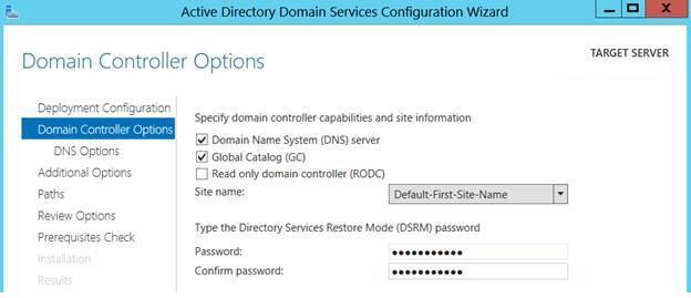 Параметры нового контроллера домена Windows Server 2012