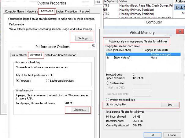 windows 8 на SSD: отключаем файл подкачки