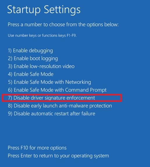 Disable driver signature enforcement в windows 8